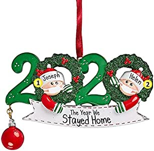 Amazon.com: 2020 Quarantine Family with Hanging Ornament, Personalized Name Christmas Ornament ...