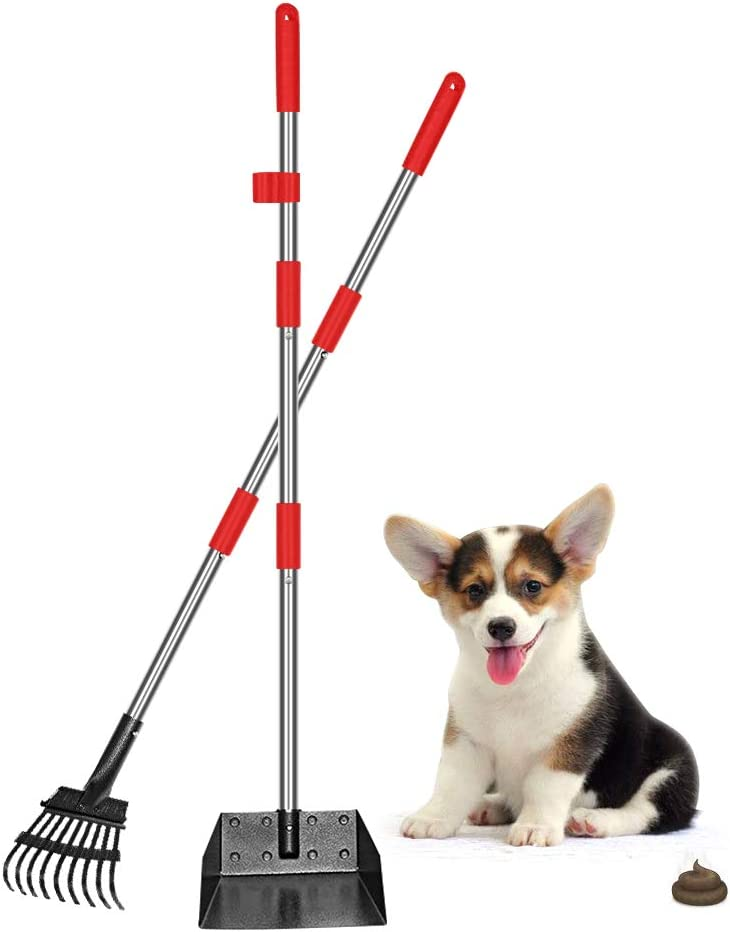 QiMH Upgraded Dog Pooper Scooper, Adjustable Long Handle Stainless Metal Pet Poop Tray and Rake Set for Small Medium Dogs, Dog Waste Removal Bin Rake Great for Grass, Street, Gravel