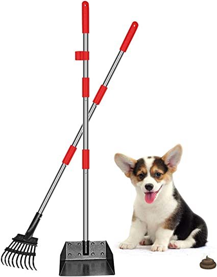 KOOLTAIL Dog Pooper Scooper Rake Set Metal Dog SExtendable Tray with Detachable Long Handle for Large Dogs