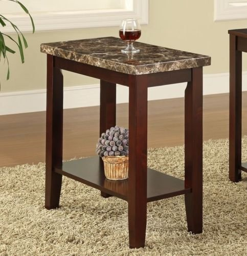 Solid Wood Marble (Chair Side Table End Table Tables Faux Marble Top By Poundex (Cherry))