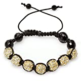 Bracelet Mens Ladies Unisex Hip Hop Style Pave Seven Crystal Gold Plated with White Crystal 11mm Disco Ball Faceted Bead Unisex Adjustable