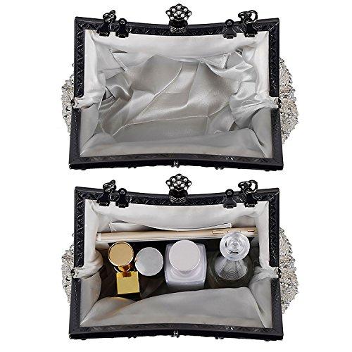 Kisschic Bolsos Clutch Fiesta Bolso de boda nupcial elegante del mujer de la boda para mujeres plateado