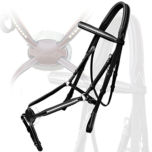 Royal Silver Clincher Grackle Bridle with PP Rubber Grip Reins./ Vegetable Tanned Leather./ Stainless Steel (Clincher Stitch)