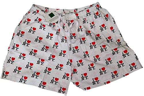 White I Love NY Boxer Shorts Unisex Sleepwear New York Souvenir Gift (Medium)]()