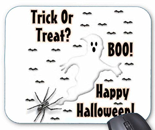 Mousepad Trick-or-Treat Halloween Ghost Saying Boo v1 Mouse Mat]()