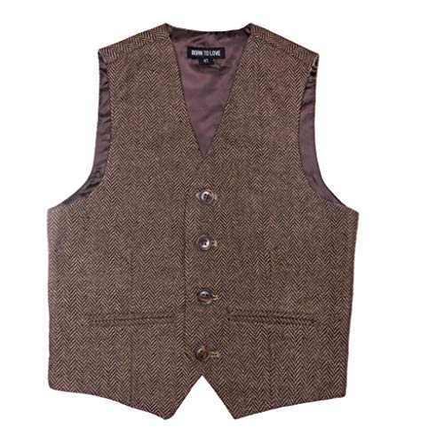 for Baby Toddler Kids Ring Bearer Pageboy Wedding Formal Herringbone Outfit (Brown, 4 Years) ()