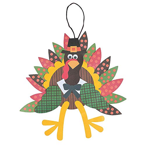 Fun Express - Paper Turkey Craft Kit for Thanksgiving - Craft Kits - Home Decor Craft Kits - Misc Home Decor Craft Kits - Thanksgiving - 12 Pieces