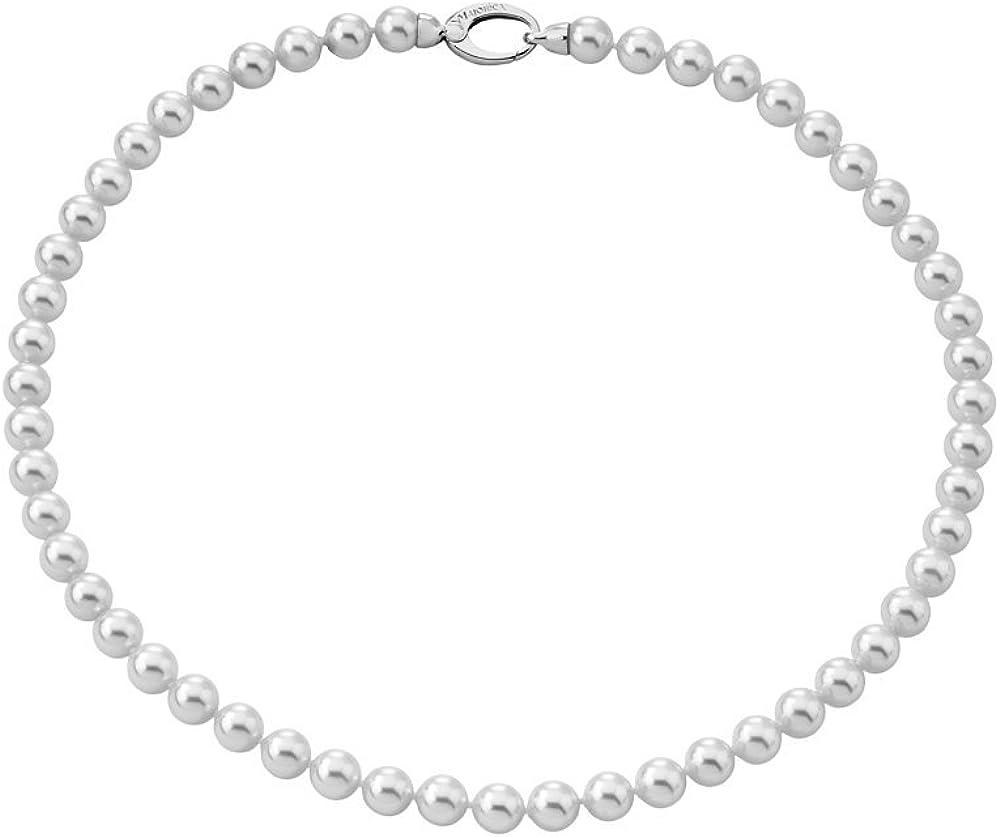 Majorica - Collar Corto de 45 cm, 7 mm Perlas Blancas Redondas