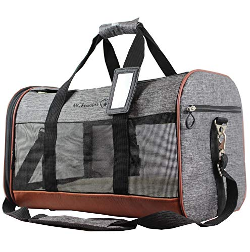 Mr. Peanut's Rhodium Series Soft Sided Pet Carrier with Wire Frame for Solid Structure, Plush Fleece Bedding & Sturdy Plywood Base, Premium Self Locking Zippers, Secure Carrying Strap ()