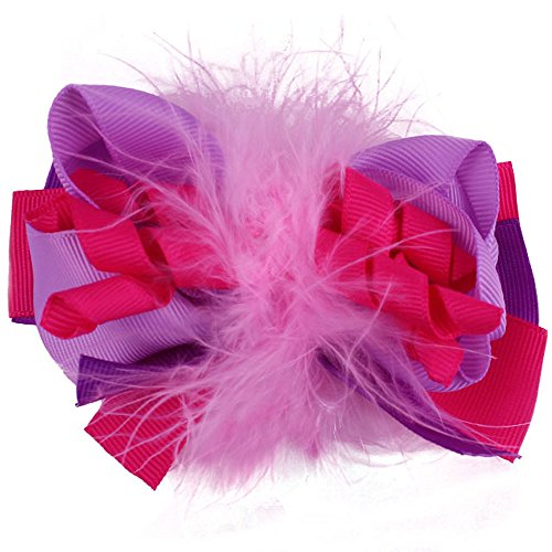 Hot Pink Purple and Lavender Princess Puff Hair Bow