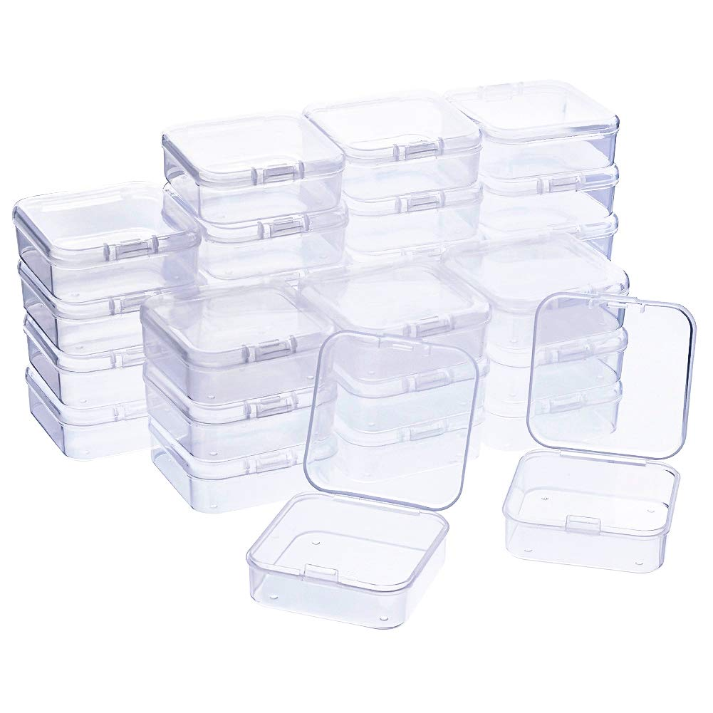 WXJ13 30 Pack Bead Storage Box with Lids Small Bead Storage Containers 2.1x 2.1 x 0.8 Inch by WXJ13