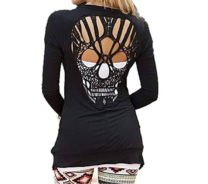 1901946ad G-real Women Stylish Back Skull Hollow Shawl Kimono Cardigan Casual Black  Blouse Coat (