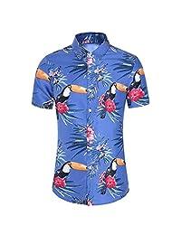 Turn Down Collar Shirts for Men,Fashion Slim Loose Hawaii Tops Short Sleeve Printed T-Shirt