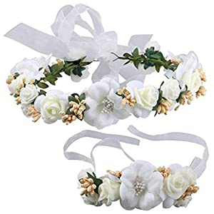 Coolwife Flower Crown Wedding Hair Wreath Floral Headband Garland Wrist Band Set 76
