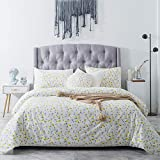 SUSYBAO 3 Pieces Duvet Cover Set 100% Natural Cotton White King Size Yellow Floral Bedding Set with Hidden Zipper Ties 1 Flowers Print Duvet Cover 2 Pillowcases Hotel Quality Soft Breathable Durable
