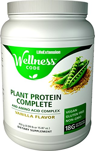 Life Extension Plant Protein Complete and Amino Acid Complex, Vanilla Flavor, 450 Grams (0.99 pounds or 15.87 Ounces)