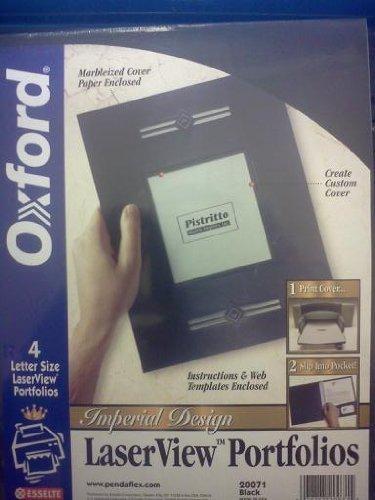 Oxford Monogram Series Business Portfolio, Cover Stock, Black, 4 per Pack (20071) (Titanium Oxfords)