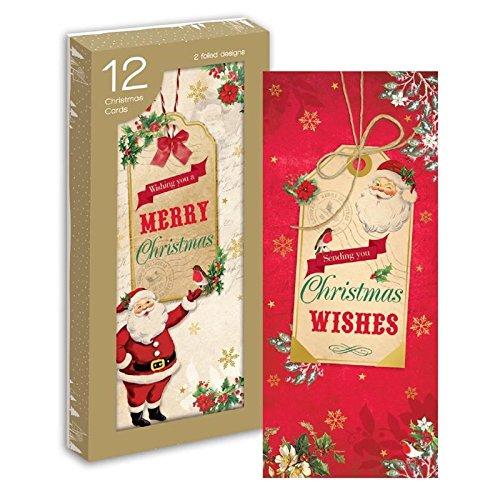12 biglietti di auguri di Natale Santa etichette buste glitter Wishes Gift post Letter denaro in tradizionale Concept4u