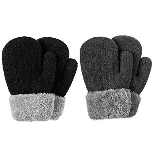 Winter Mitten Gloves For Baby Kids Toddler Infant Newborn, Cute Warm Fleece Lined Knit Thick Thermal Gloves For Boys Girls (Black&Gray)
