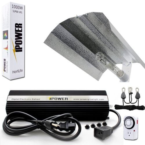 iPower 1000 Watt HPS Digital Dimmable Grow Light System Kits Wing Reflector Set with Timer by iPower