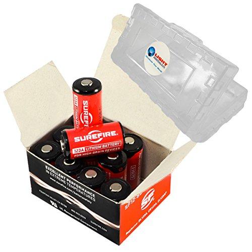 12 pack Surefire CR123A Lithium Battery 3v with LightJunction Battery Case