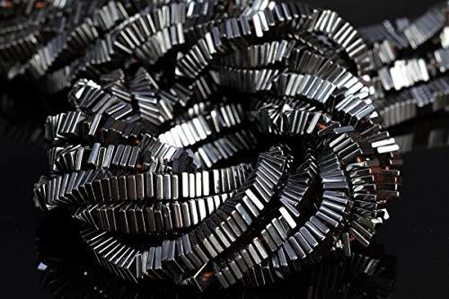 4x1MM Black Hematite Square Slice Grade AAA Natural Gemstone Loose Beads 7.5