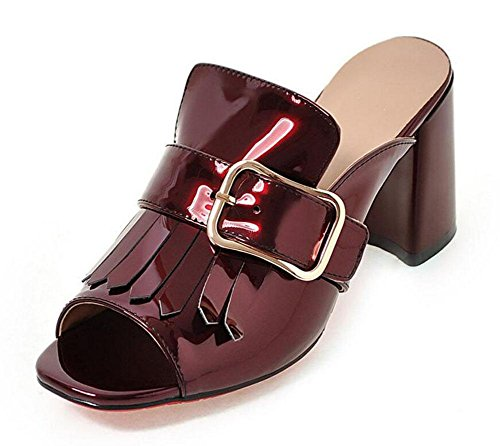 Women White Toe Heel Blue wine Patent Peep Pump Mule Red Cone High Black red Colorful Buckle Leather Sandals T Strap rwr6Bq