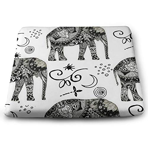SEVENHOUSE Memory Foam Ventilated Orthopedic Seat Cushion for Car and Office Chair - Washable & Breathable Cover (Bohemian Elephant Boho White)