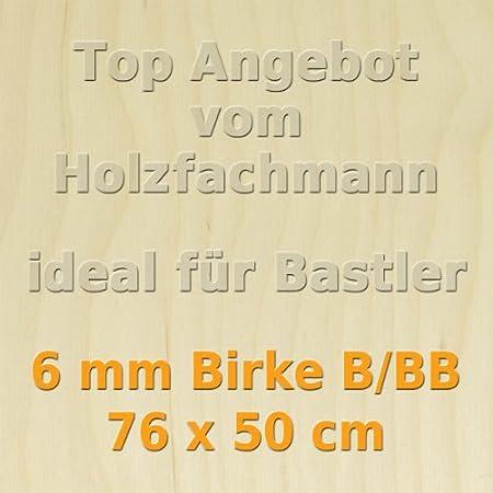 GP 32,87 /€//m/² PiHaMi/® 6mm Birke Sperrholzplatte Qualit/ät B//BB 76 x 50cm
