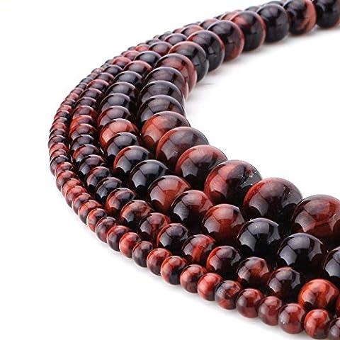 RUBYCA Natural Red Tiger Eye Quartz Gemstone Round Loose Beads for Jewelry Making 1 Strand - 10mm - Peridot Gemstone Round Shape