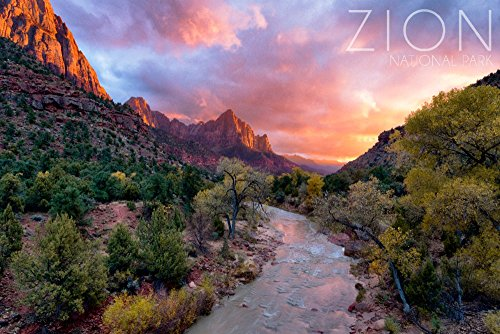 Zion National Park, Utah - The Watchman (24x36 SIGNED Print Master Giclee Print w/Certificate of Authenticity - Wall Decor Travel Poster)