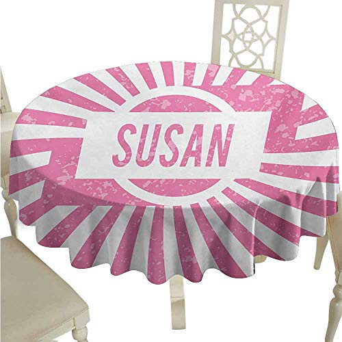 duommhome Susan Spill-Proof Tablecloth Female Name with Grunge Effect Birthday Girl Celebration Striped Backdrop Easy Care D35 Pale Pink and White