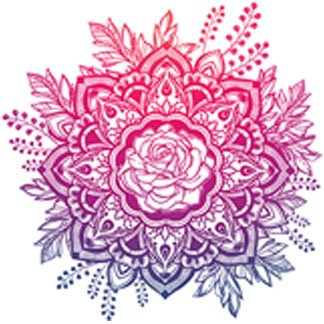 Flower Car Sticker (Beautiful Pink Blue Purple Ombre Vintage Hipster Mandala Flower Vinyl Decal Sticker (4