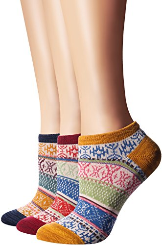 Flora&Fred Women's 3 Pair Pack Vintage Style Ethnic Cotton No Show Socks