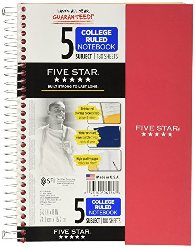 Five Star Spiral Notebook, 5 Subject, College Ruled, 9.5 x 6 Inch, (Mead 5 Star Notebooks)