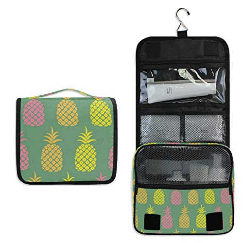 Hanging Toiletry Bag Pineapple Color Pattern Large Capacity Travel Bag for Women and Men - Toiletry Kit, Cosmetic Bag, Makeup Bag - Travel Accessories