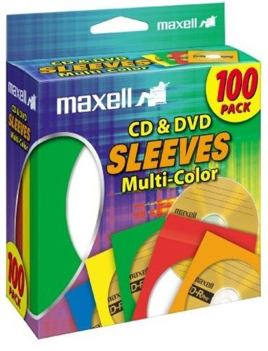 - Maxell 190132 CD & DVD Paper Storage Envelope Sleeves with Heavy-duty Paper and Clear Plastic Window Multi-Color 100 Pack (Paper)