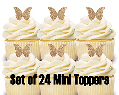 24 Mini Cupcake Toppers Rose Gold Glitter Butterflies/Birthday Party/Cake Decorations