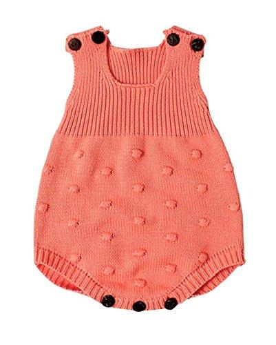 Knit Girls Overalls (Eiffel Direct Baby Girls Boys Knitted Striped Spot Romper Sleeveless Vest Jumpsuit Bodysuit)