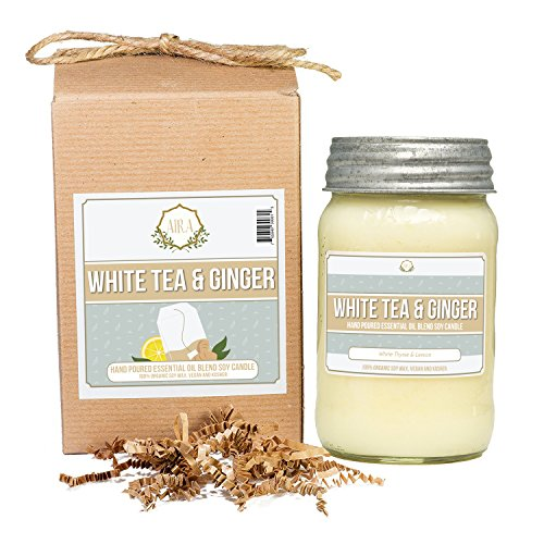 Jar Candle Wax Candle - AIRA Soy Candles - Organic, Kosher, Vegan, in Mason Jar w/ Therapeutic Grade Essential Oil Blends - Hand-poured 100% Soy Candle Wax - Paraffin Free, Burns 110+ Hours - White Tea & Ginger -16 Ounces
