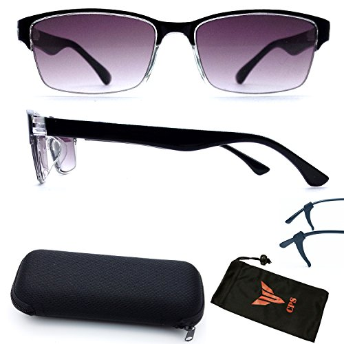 (#SUN Read-33) Spring Hinged Rectangular Shape Sun Reader Purple Lenses For Men Women & Unisex Reading Glasses & Sunglasses - Discount Glasses Sun