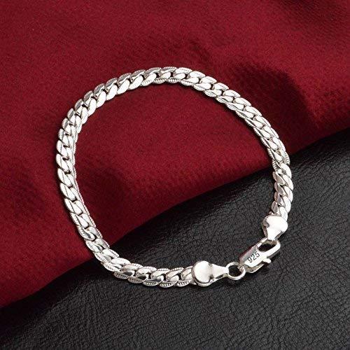 Solid 925 Silver Men's Women's Italian 5mm Cuban Curb Link Chain Bangle Bracelet(Silver)