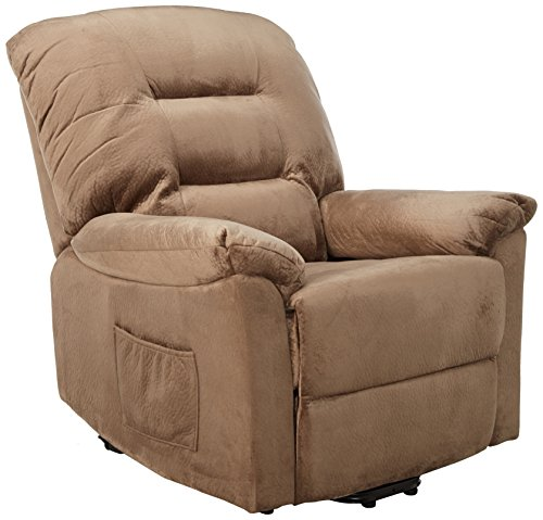 Coaster Casual Brown Sugar Padded Velvet Upholstered Power Lift Recliner