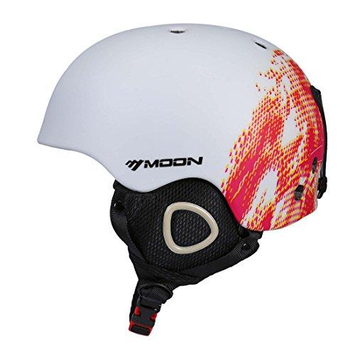 SUNVP Ski Helmet Lightweight Breathable Outdoors Snowboards Helmet Unisex Adult Snow Sports Helmet (White/Red, L)