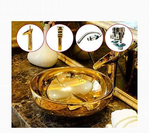 樹脂洗面台天然石楕円形凹型16x6インチゴールドラウンドセラミックカウンター盆地、ヨーロッパのアート洗面台洗面台(サイズ:カウンター盆地の上)