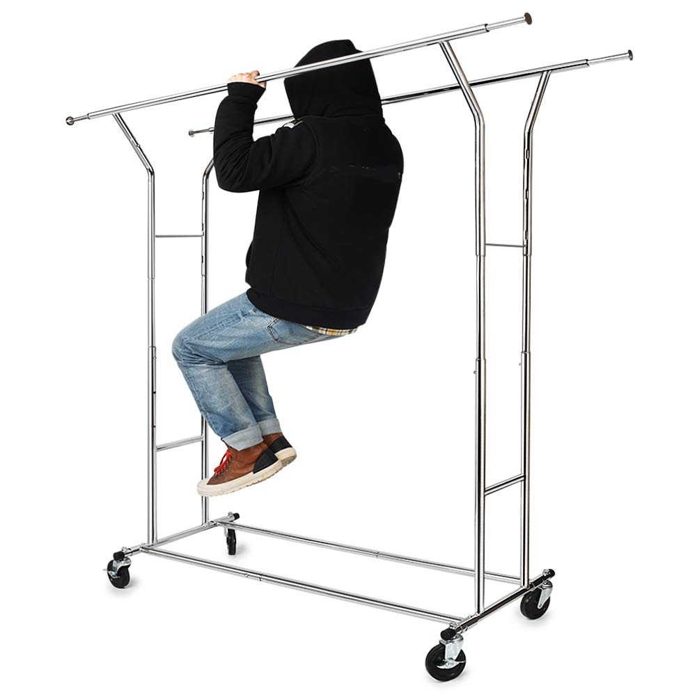 330 lbs Load Capacity Commercial Grade Clothing Garment Racks Heavy Duty Double Rails Adjustable Collapsible Rolling Clothes Rack on Wheels, Chrome Finish