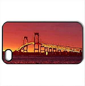 Beautiful Bridge - Case Cover for iPhone 4 and 4s (Bridges Series, Watercolor style, Black)