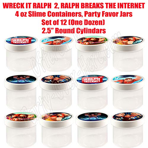 """Wreck It Ralph 2 Movie 4 oz Slime Containers - Party Favor Jars, 2.5"""" Round Cylinder -12 pcs, Durable Plastic, Put Any Candy, Cereal, gumballs, Ralph Breaks The Internet"""