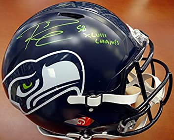 RUSSELL WILSON AUTOGRAPHED SEATTLE SEAHAWKS AUTHENTIC SPEED FULL SIZE  HELMET quot SB XLVIII CHAMPS quot  IN ab79a22fc