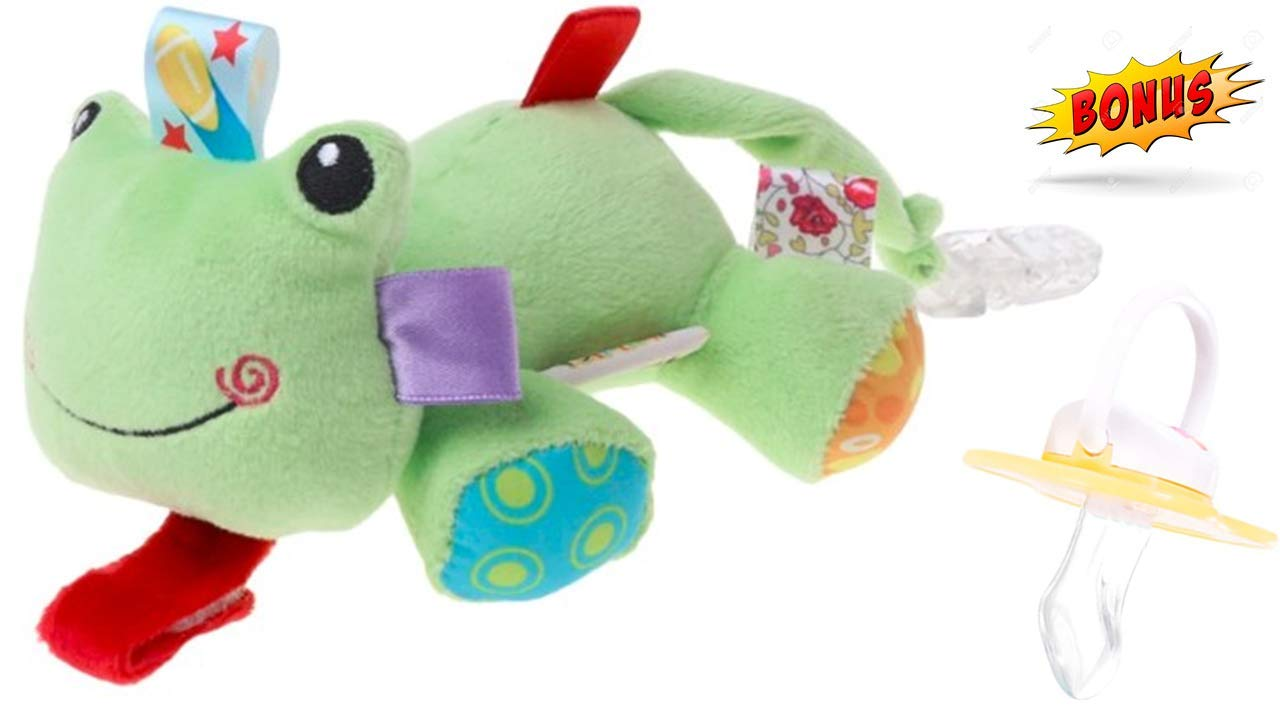 Pacifier Holder - Baby Pacifier - Stop Losing That Dirty Little Binky - Plush Pacifier Clip - Detachable Stuffed Animal Pacifier Teether Holders - Toy Frog Plushies by FurBALLz